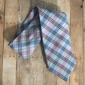 Burberry London Light Blue Plaid Silk Tie
